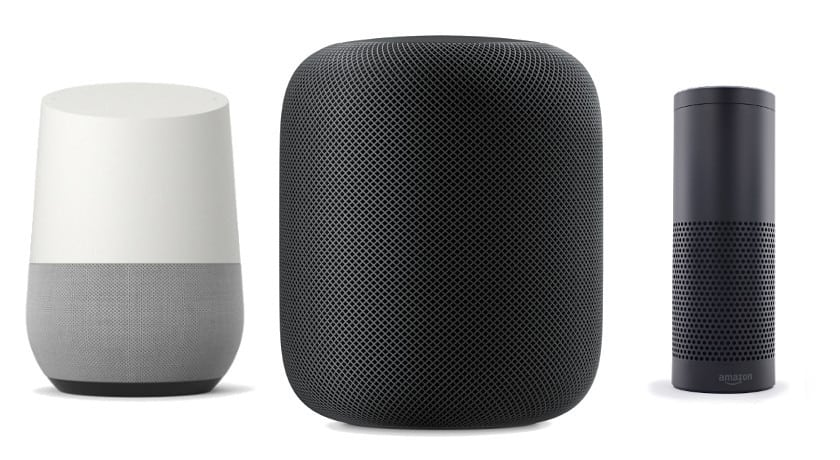 Amazon Echo, Google Home, Apple HomePod