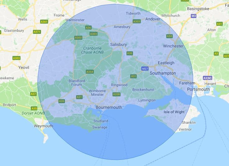 Bournemouth Mobile Phone Repair Service Map