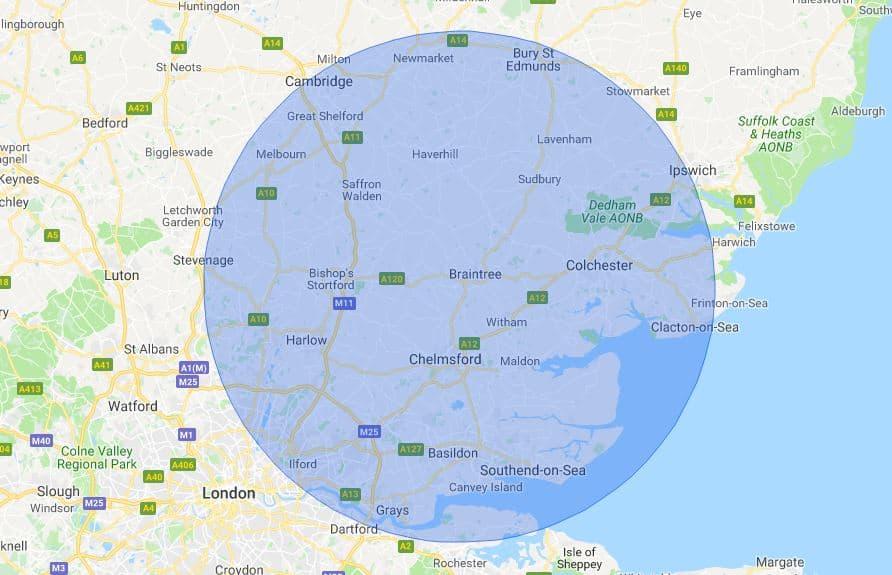 Essex Mobile Phone Repair Service Map