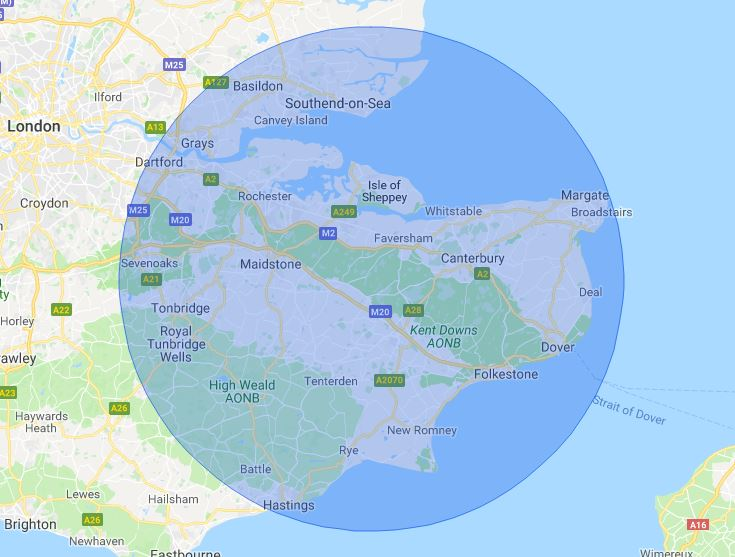 Kent Mobile Phone Repair Service Map