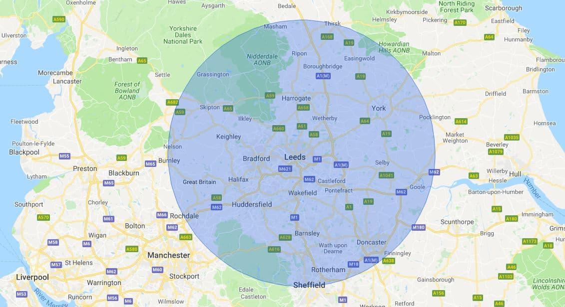 Leeds Mobile Phone Repair Service Map