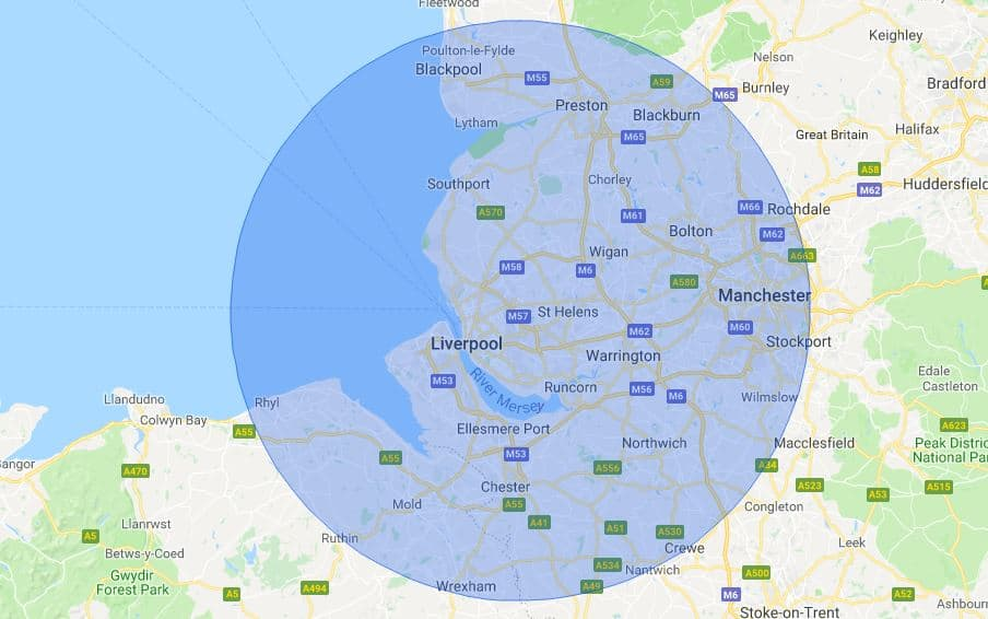 Liverpool Mobile Phone Repair Service Map