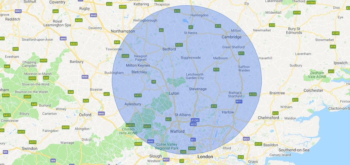 Luton Mobile Phone Repair Service Map