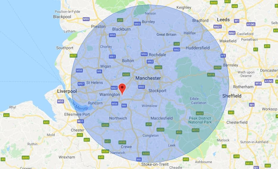 Manchester Mobile Phone Repair Service Map