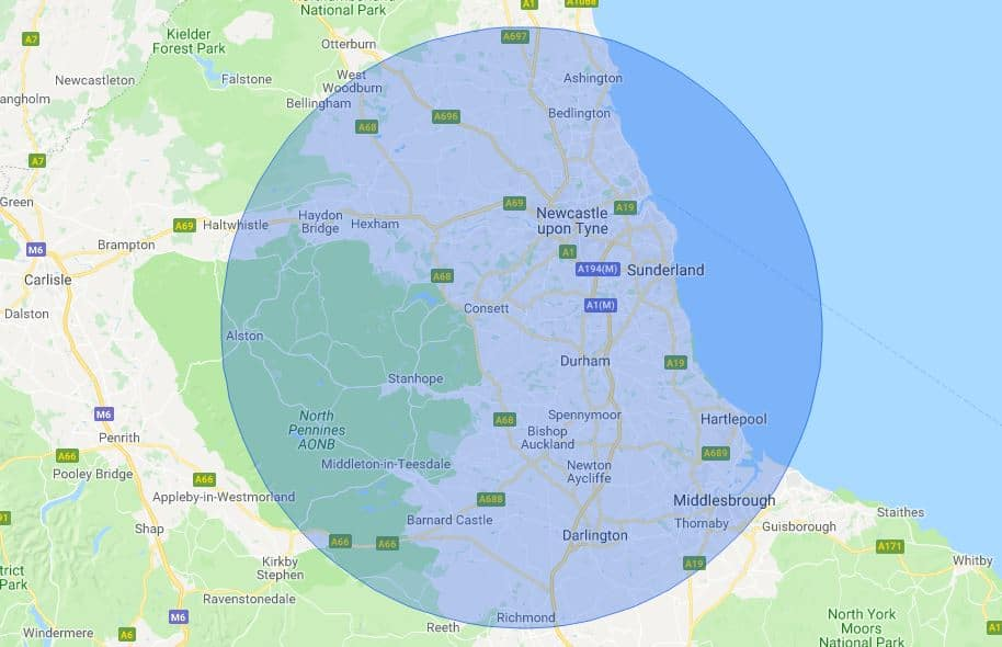 Newcastle Mobile Phone Repair Service Map