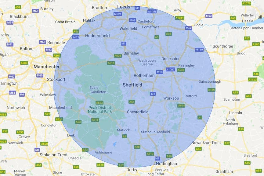 Sheffield Mobile Phone Repair Service Map